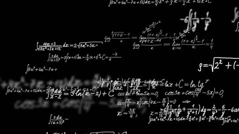 Loopable background with math formulas. Math calculations or formulas coming from behind the screen on black background, computer generated loopable motion background.