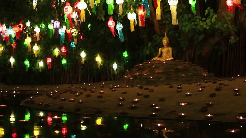 Candle Light With Hanging Lamp Tung A Candles And Lanterns To Pray The Buddha In Temple Chiang Mai Thailand