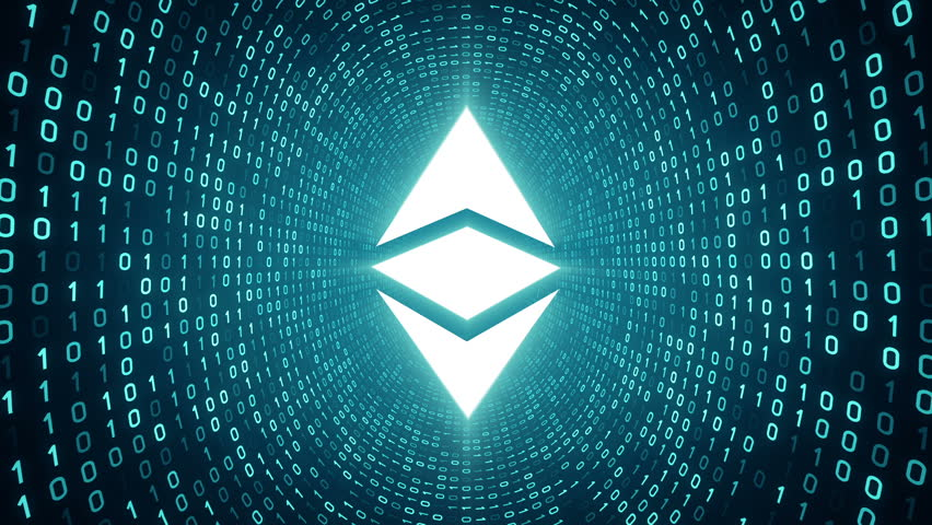 "White crypto currency logo ""ETHEREUM CLASSIC"" form cyan binary tunnel on cyan background. Seamless loop. More logos and color options available in my portfolio. 