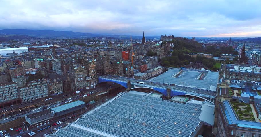 Edinburgh sunset aerial Scotland  | Shutterstock HD Video #1007008351