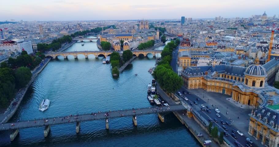 Paris Seine river aerial France | Shutterstock HD Video #1007012581