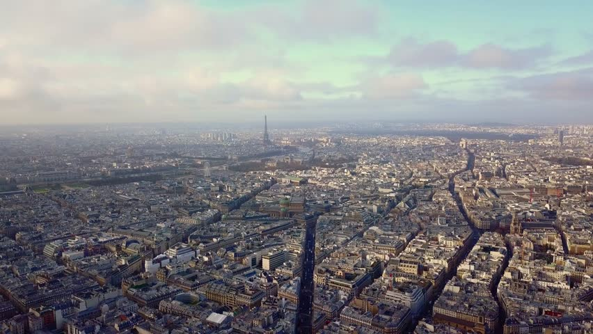 Aerial view of eiffel tower in paris france on a sunny day | Shutterstock HD Video #1007042161