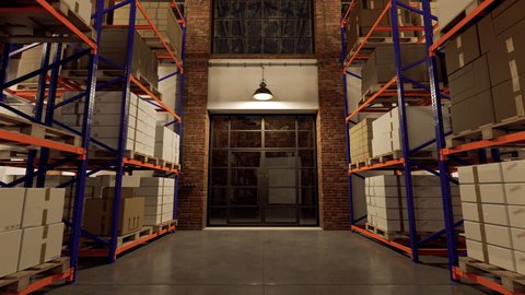 03104 Camera tracking back between the shelves in the warehouse.