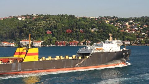 Ro-ro cargo ship used to transport large vehicles such as car, truck, trailer, train and wagons. A giant vehicle carrier sailing close to the shore in Bosporus Sea, Istanbul
