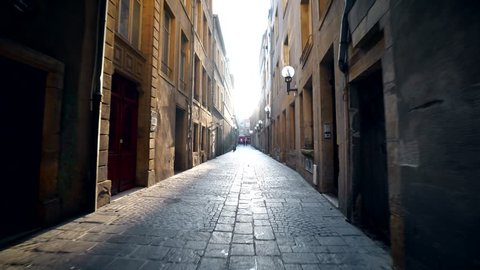 Small street in the toen center of Metz France