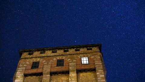 St Sava`s defense tower in Monastery Hilandar at night time lapse, Mount Athos