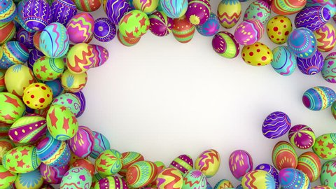 Easter eggs on solid background.  Colorful Easter eggs form a frame, you can put there your inscription or logo . White background.