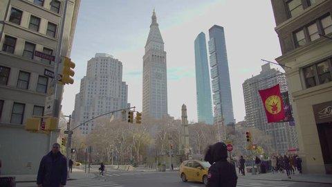 NEW YORK, NY - DEC-06-2017: New York City's Flatiron District, The Metropolitan Life Clock Tower