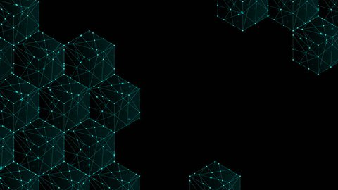 Cube box isometric pattern, Blockchain concept design illustration blue green color, dot outline stroke animation 4K on black background, with copy space