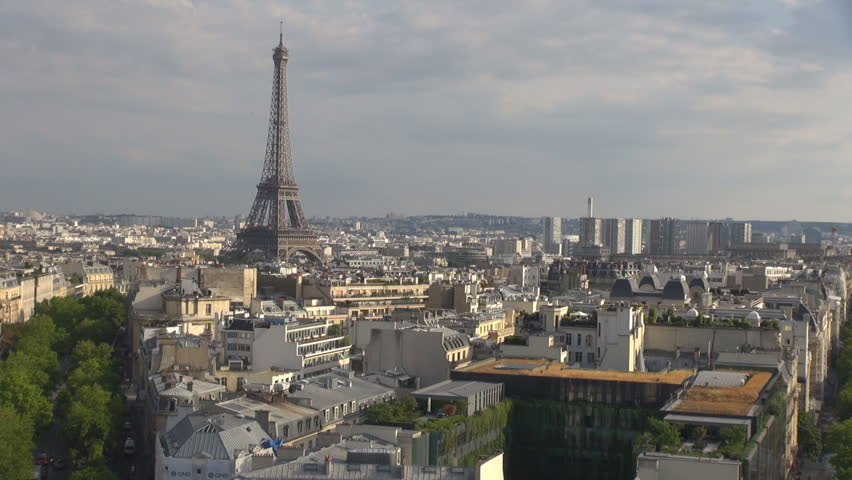 Panoramic view of Paris crowded central city by day, Eiffel tower silhouette emblem | Shutterstock HD Video #1007072341