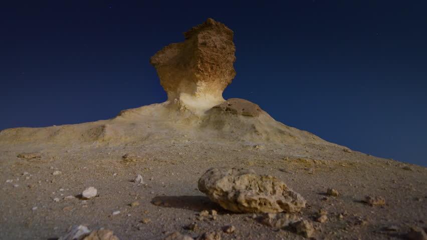 Qatar desert stone night moon heat yellow sand | Shutterstock HD Video #1007102251