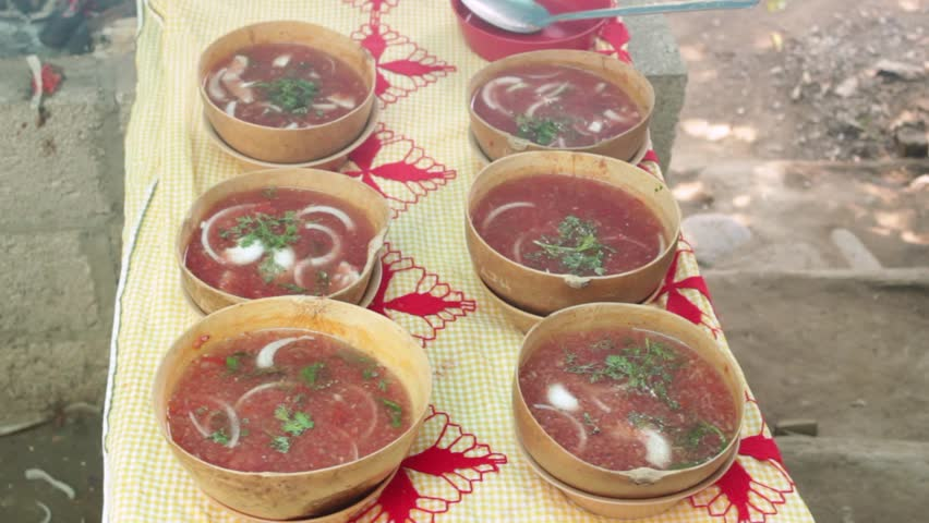 """The """"stone soup"""", a whole tradition, indigenous cuisine. Traditional stone broth from San Felipe Usila. Oaxaca, Mexico is a dish that goes back to pre-Hispanic times,"""