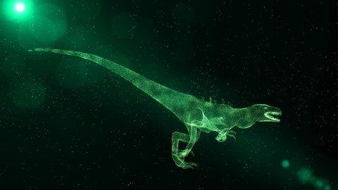 Green Velociraptor, prehistoric extinct dinosaur running through particles, fantasy 3D scene