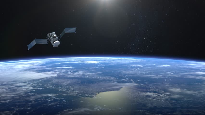 The satellite scan and monitor the Earth. The solar panel opens. The satellite is slowly approaching. The earth rotates slowly. 4K. | Shutterstock HD Video #1007115781