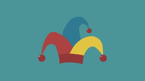 Clown jester hat flat design animation icon. loop with alpha channel.