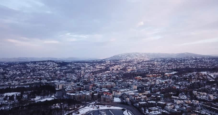 Aerial footage of Frognerkilen Marina and Holmenkollen in Oslo, Norway