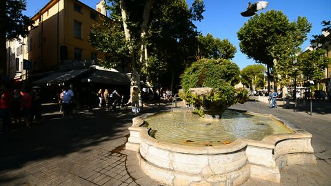 AIX EN PROVENCE, FRANCE - 10TH JULY, 2017: Fountaine in the street of the Aix en Provence, Provence, France, Europe.