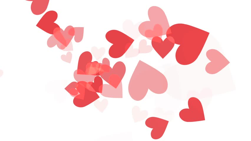 Love Hearts - V - Flying Loop - Red on White - Background animation for Valentine, Christmas, wedding, birthday and other romantic holidays and special events.