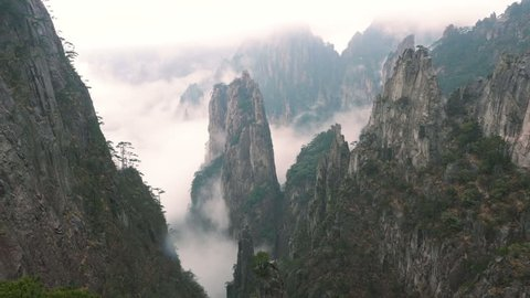 Yellow Mountain or huangshan mountain Cloud Sea Scenery, East China`s Anhui Province.
