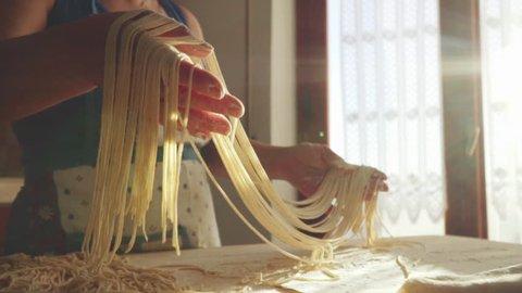 Handmade pasta - Spaghetti - Italy- Slowmotion