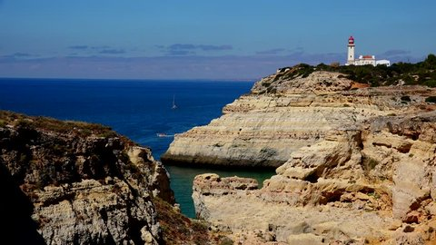 Scenic view of Alfanzina lighthouse, located in Carvoeiro, Algarve south of Portugal