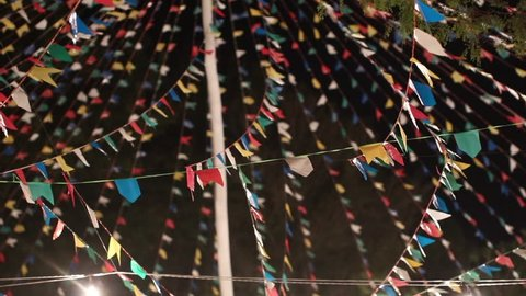 Festivities and colorful decorations for traditional junina south american party