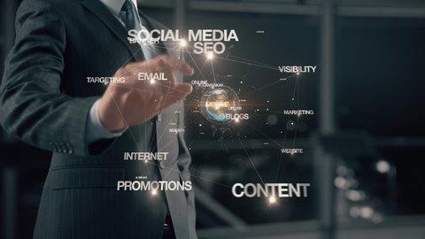 Businessman with web marketing