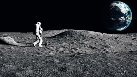 Astronaut walking on the moon. CG Animation.
