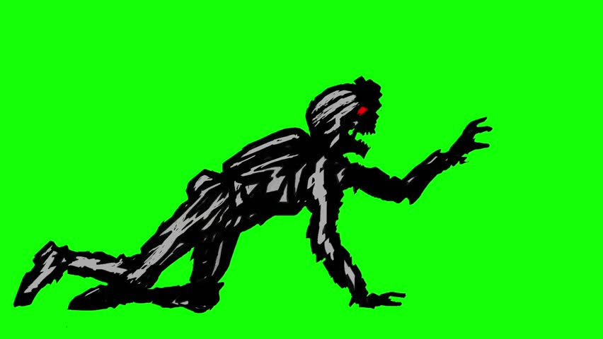 Black silhouette a zombie soldier in helmet is creeps on all fours. Looped animation. Scary monster character profile. Genre of horror. Side view on a green background. | Shutterstock HD Video #1007260261