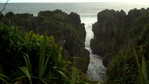 Pancake Rocks shore in New Zealand.
