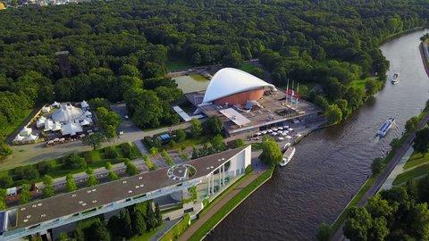 Germany Berlin Aerial v23 Birdseye flying low around Kanzleramt Theater area German Chancellery 8/17