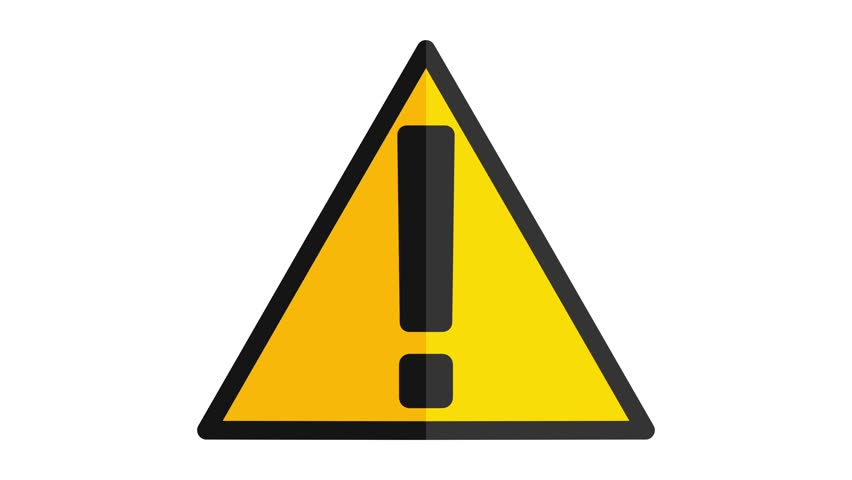 Hazard warning sign with exclamation mark symbol icon in out animation yellow