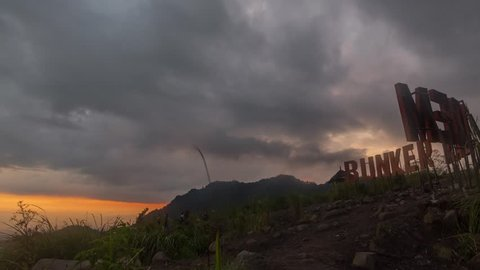 Sunset Time Lapse at Bunker Kaliadem, Sleman Yogyakarta which location of Mount Merapi view at jogjakarta. Tilt from left to down