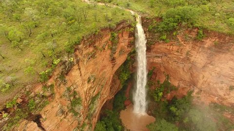 Aerial view of waterfall and cliffs of Caracol Mountain - Chapada das Mesas, Carolina, maranhão, Northeast Brazil
