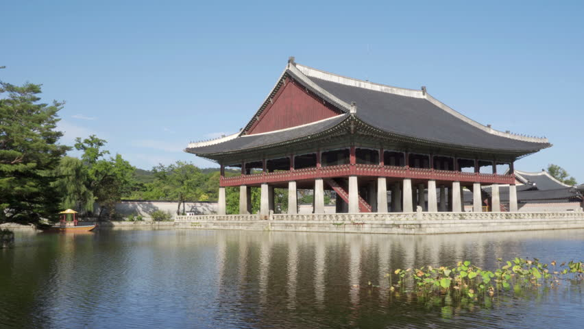 A Building Of Traditional Korean Architecture Gyeonghoeru Pavilion At Gyeongbokgung Palace In Seoul South