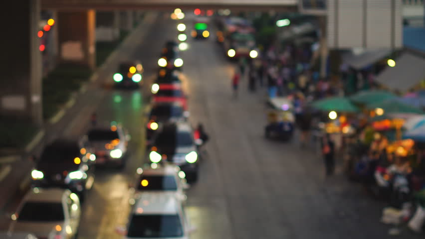 4K Abstract blurred traffic jam around Klongtoey market at Rama IV road in Bangkok, Thailand  | Shutterstock HD Video #1007406961
