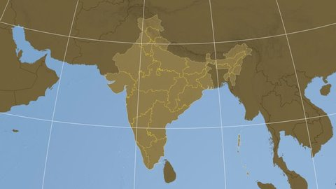 Tamil Nadu Extruded On The Elevation Map Of India With Administrative Borders Elevation Data On