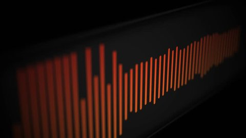 Camera pans over modern cool sleek audio spectrum or waveform of a song - Orange Version