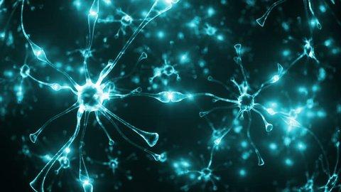 3d render Neuron glowing looping