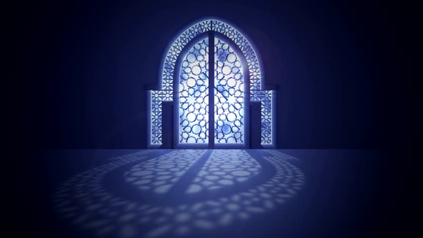 Islamic mosque door with glowing light from behind arabic geometric pattern for ramadan and eid greeting motion graphic | Shutterstock HD Video #1007452771