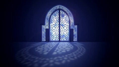 Islamic mosque door with glowing light from behind arabic geometric pattern for ramadan and eid greeting motion graphic