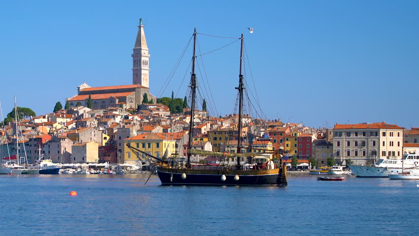 Rovinj , Croatia - Panoramic view of old town of Rovinj skyline in Istria peninsular, Croatia at waterfront street. Rovinj is a popular tourist resort, fishing port and culture travel of Croatia.