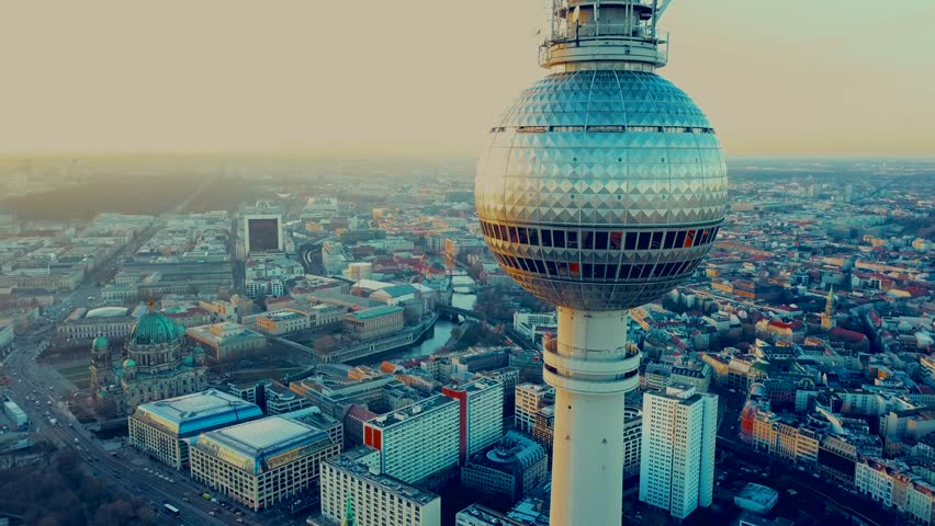 Berlin, Germany. Aerial shot of the TV Tower  | Shutterstock HD Video #1007470351