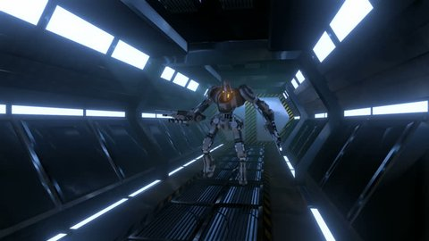 Sci-fi Mech in a Corridor with Weapon