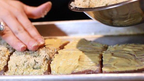 Chef Preparation of seafood skinless raw Mahi Mahi fish cutting fish recipes