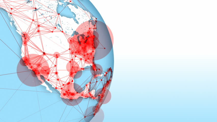 Connections form world network. Loops: 0:00-42:00, 10:15-31:15, 35:00-end. Globe on left with copy space. Point size represents city population. Global communication, internet, social media, tech. | Shutterstock HD Video #1007481004