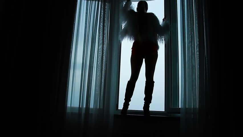 Silhouette of a girl in the open window | Shutterstock HD Video #1007486041