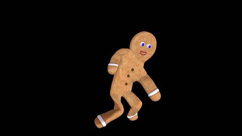 Gingerbread Twist Dancer - Milky Light - Transparent Loop - Funny gingerbread man dancing twist for various holiday and special event projects as cycling 3D animation character with alpha channel.