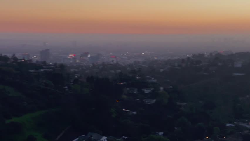Los Angeles hills with city view at sunset time | Shutterstock HD Video #1007517700