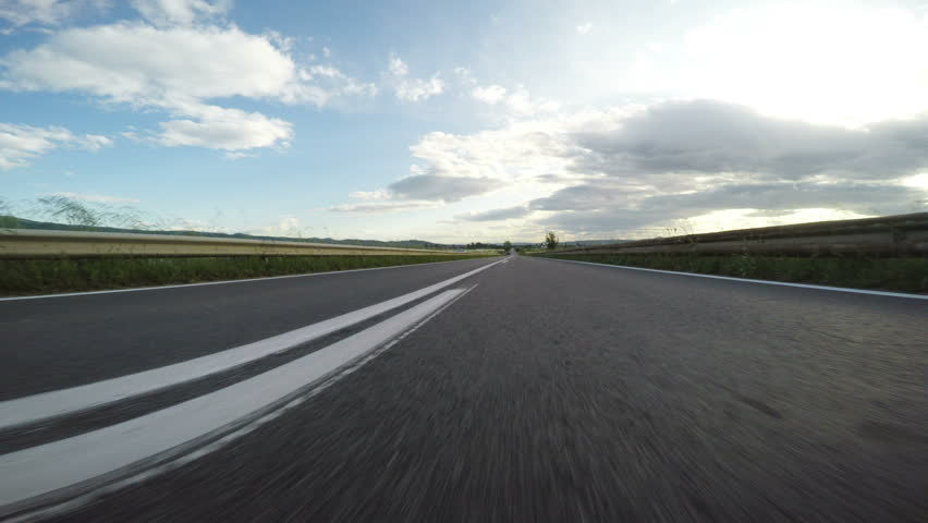Sport drive on Open road POV low angle
